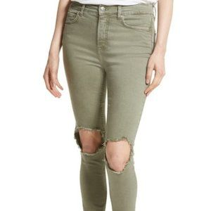 Free People High Rise Busted Knee Skinny Jeans, 24